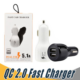 Wholesale cell phone car usb charger - Fast Car Charge 3.1A Dual USB 9V 2A 12V 1.2A QC2.0 Fast Charging Phone Charger For Cell Phone with Retail Package