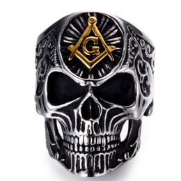 gothic stainless steel ring Promo Codes - Punk Hip Hop Engrave Masonic Freemason Skull Ring Vintage Gothic Hiphop Free Mason Freemasonry Stainless Steel Men Jewellery