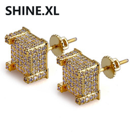 Wholesale color stud earrings - Hip Hop New Custom Iced Out Gold Color Micro Paved Zircon Square Stud Earring with Screw Back Bling Jewelry for Women & Male