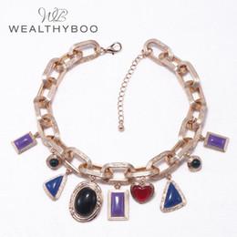 0ffa3ee5e8f0 WEALTHYBOO 21 pulgadas Cadena de ancla de una sola fila de múltiples  colores gotas geométricas collar colgante para las mujeres joyería de moda  collares ...