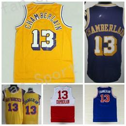 Wholesale Vintage 13 - Retro Men 13 Wilt Chamberlain Throwback Basketball Jerseys Cheap Vintage For Sport Fans Yellow Purple BLue White Team Stitched With Name