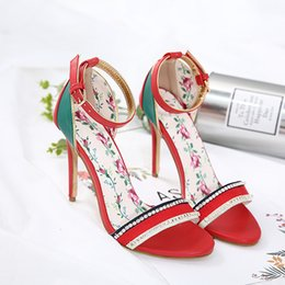 Wholesale Export Shoes - Europe and the United States export trade shoes 2018 summer new spell color mosaic wedding high-heeled sandals