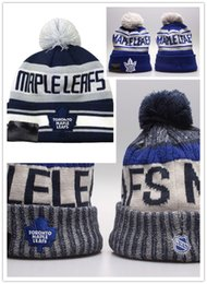 Wholesale White Cotton Beanie - New Style 2018 NHL TORONTO MAPLE LEAFS Skateboards beanie hat cap baseball team winter beanies Embroidered casual beanies free shipping