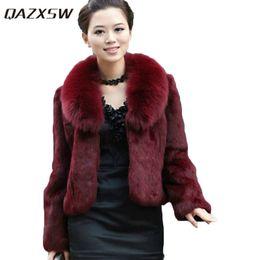 Wholesale White Mink Collar - QAZXSW Autumn and winter women fur coat black large fur collar long-sleeve mink hair design short outerwear LJ944