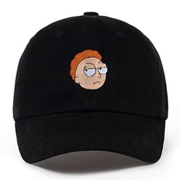 Wholesale Crazy Woman - Rick and Morty New Khaki Dad Hat Crazy Rick Baseball Cap American Anime Cotton Embroidery dad hats Snapback Anime lovers Cap Men Women