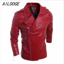Chaqueta de cuero rojo de la motocicleta de los hombres online-AILLOGE Mens Motorcycle Suede Jacket Solid Style Rojo Negro blanco Faux Leather Jackets Hombres Coreano Slim Fit Hombre Marca Hombre Escudo