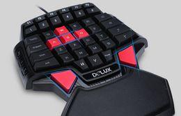 Claviers de prix en Ligne-Delux T9U Clavier filaire a une main 41 touches standard Clavier à une main avec rétroéclairage LED pour LOL DOTA 2, joueur de jeu PC, meilleur prix