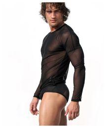 traje de baño de malla transparente Rebajas Negro Blanco Sexy Transparente Mens Mesh Undershirt Camisa de manga larga Erótico Gay Sleep Tops Lencería Verano traje de baño M L XL