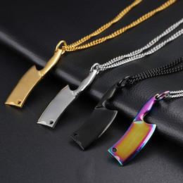 Progettisti di cucina online-Collana con 4 coltelli da cucina in acciaio inossidabile - Collana con colletto da uomo - Gioielli di moda con collana Punk Rock Gift