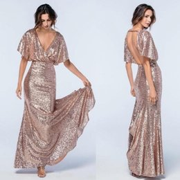 Wholesale Cheap One Piece Dresses - Rose Gold Sequins Mermaid Prom Dresses With Deep V Neck Short Sleeves Backless Evening Dress Formal Dresses Long Bridesmaid Dress Cheap