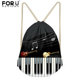 b58b78d520e FORUDESIGNS Men Small Backpack Music Notes with Piano Keyboard Men s Casual  Drawstring Bags for Kids Boys School Bag New kids piano keyboards promotion