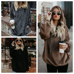 Wholesale Girls Pullover Fleece - Women Winter Plush Sweatshirt Hoodie Loose Cute Hooded Pockets Autumn Girl Hoodies Fleece Coat Furry Sweatshirt OOA4230