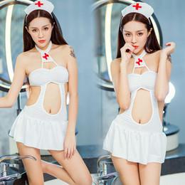Wholesale Sexy Nurse Lingerie Set - One piece nurse uniform with 1 Cap, +1 stockings sexy lingerie suit