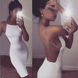 Wholesale White Dress Chain Backless - Hot sale sexy dress 2 color solid black white summer dresses slash neck sequin chain knee length bodycon backless dress free shipping