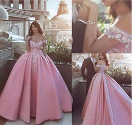 Wholesale Custom Silk Flower Balls - 2018 Off Shoulder Prom Dresses with Appliques Flowers Said Mhamad Satin Formal Dresses Evening Wear Zipper Back Custom Made Bridal Gowns