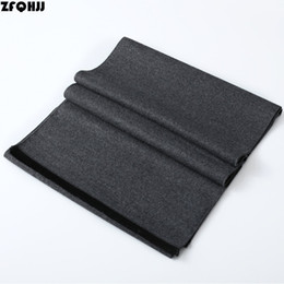 Wholesale Muffler Scarf For Men - ZFQHJJ 180x30cm Mens Scarf Fashion Solid Formal Business Shawl Wrap Thicken Warm Cashmere Scarf Muffler Neckerchief for man Gift