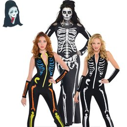 Wholesale halloween adult fancy dress - Womens Sexy Halloween Skeleton Catsuit Ladies Fancy Costume Dress Jumpsuit Adult
