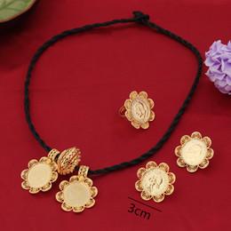Wholesale Tungsten Cross Necklaces - wedding jewelry Bangrui Ethiopian Big Coin Cross Pendant Necklace Earring RingJewelry Gold Color African Eritrea Habesha Wedding Jewelry