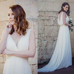 b143c687d 2019 vestito di vita dell'impero Abito da sposa in chiffon a-line con