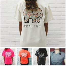 Wholesale Girls White T Shirts - Ivor Elle Women Girls T-shirt Blended Cotton Elephant Print Woman Shirts Trend Brand Woman Tees Gray Pink White Black Tops T150