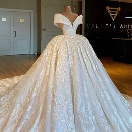 couture ball Coupons - 2019 Real Photos Luxury Royal Ball Gown Lace Wedding Dresses Chapel Train Nigerian Wedding Haute Couture V Neck Off Shoulder Engagement Look