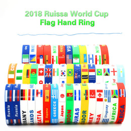 Wholesale Increase Ring - Flags Silicone Bracelet Hand Ring Russia World Cup FIFA Flags Bracelet 40 countries wrist strap Increase the atmosphere Football 400PCS DHL