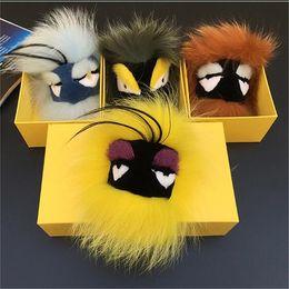Wholesale Fox Alloys - Soft genuine real Fox Fur Monster Bug bag Charm real fur Pompom Ball plush Keyring Tassel Pendant