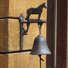 Wholesale Horses Farms - Retro Iron Horse Decorative Cast Iron Handmade Bell Phone Countryside Garden Garden Farm Creative Home Crafts Free Shipping