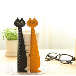 Wholesale Kid Ruler Stationery - free shipping1PCS 15cm Kawaii Cat Shape Ruler Cute Wood Animal Straight Rulers Gift For Kids School Supplies Stationery Sewing Tools AQI-662