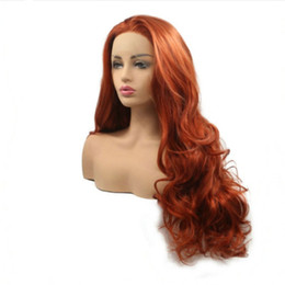 Pelo cobrizo rojo online-Envío gratis Loose Wave pelo largo cobre rojo / naranja oscuro peluca resistente al calor del frente del cordón sintético pelucas para mujeres niñas Natural rayita