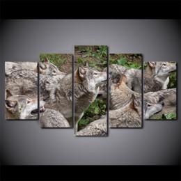 HD напечатаны 5 шт. холст искусства дикий коричневый Волк группа живопись модульные настенные панно для гостиной Современный Бесплатная доставка CU-2430B от