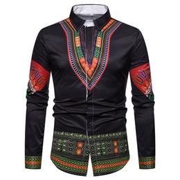 Vestidos de mangas tradicionales online-Camisa de los hombres Ropa Africana 2018 Dashiki Africano Tradicional Camisas de Vestir Camisa Social de Manga Larga Delgada Hombre Camisa Hombre