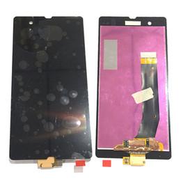 Sony xperia z preto on-line-Novo display lcd touch screen digitador para sony xperia z l36h l36i c6603 c6602 branco preto com vidro temperado dhl logística
