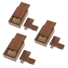 2019 boîtier mémoire flash usb 3 x 16 Go clé USB 2.0 en bois de noyer, clé USB avec boîte en bois promotion boîtier mémoire flash usb