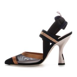 2018 nouvelles femmes sandales maille patchwork rayures à lanières talons hauts sandales bouts pointus boucle élastique Slingback Ladies Party chaussures ? partir de fabricateur