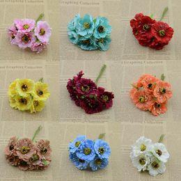 Gros-6 pcs / bouquet fleurs artificielles soie fleur DIY guirlande matériel cerise bouquet coiffure décoration fleur ? partir de fabricateur