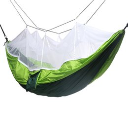 Wholesale mosquito nets hammock - Double Man Hammocks Outdoor Furniture Single Person Camping Handy Portable With Mosquito Nets Leisure Nylon Parachute Cloth 43jq BV