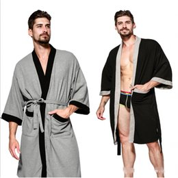 2018 Autumn Brand Pajamas Robe Men 100% Cotton Robes Men s Long Sleeve Bathrobe  Male Patchwork color contrast bathrobe Plus size f643be3f5