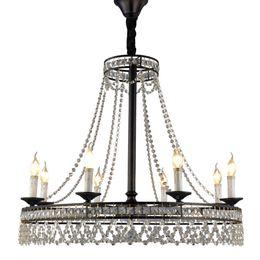 Gran araña de cristal vintage online-Lujo Moderno Diseño Moderno Negro E14 Led K9 Crystal Grandes Lámparas de Iluminación para Loft Home Staircase Living Room lámpara