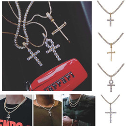 Wholesale 4mm brass - Hip Hop Iced Out Ankh Cross Pendant Necklace 4mm Tennis Chain Micro Pave CZ Stones Gold Chains for Men
