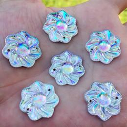 21mm knopf online-120 STÜCKE 21mm Bling Acryl Strass Knöpfe Künstliche Kunststoff Dekorative Kristall Strass Perlen-Z190 * 10