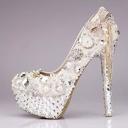 Wholesale Ivory High Heels Bow - New Luxury Wedding Shoes Glitter Sequins Pearl Bow Formal Party Sparkling Single Diamond Bridal High Heel Bridal Shoes