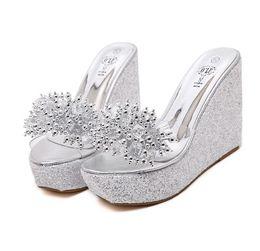 grey silver high heels NZ - ViVi Lena 2018 Sequined Clear PVC Platform Wedge Sandals Slipper Women High Heel Slipper Shoes Black Gold Silver size 34 to 40