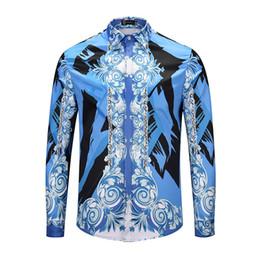 chemises longues longues en soie Promotion 2019 Nouveau luxe mode hommes chemises décontractées couleur 3D Floral imprimé chemises à manches longues hommes robe slim fit chemises en soie de coton méduse