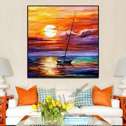 Moderna pittura a olio di tramonto online-Moderna pittura a olio coltello su tela a mano mare barca a vela bellissimo tramonto a vela nave da parete immagine per soggiorno camera da letto decorazione della parete