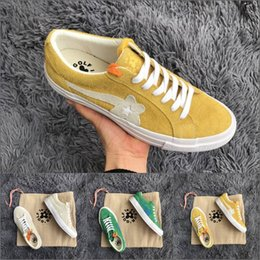 Wholesale Ox Bag - 2018 Canvas Creator x Tyler One Star Ox Golf Le Fleur Suede leather shoes Yellow Green Mnes Women Sneaker with Shoelaces dust bags