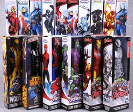 Wholesale Iron Man Pvc - The Avengers PVC Action Figures Marvel Heros 30cm Iron Man Spiderman Captain America Ultron Wolverine Figure Toys