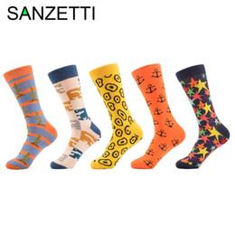 Wholesale Men Colorful Socks - SANZETTI 5 pair lot Men's Combed Cotton Socks Multi Colorful Funny Pattern Casual Crew Socks Happy Party Dress Crazy
