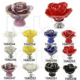 Wholesale Flower Ceramic Knobs - Ceramic Bedroom Cabinet Cupboard Drawer Handmade Rose Knob Pull Hand Flower Gold Red Yellow white blue black Purple Lace Rose
