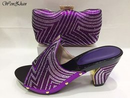 Scarpe e borse africani all ingrosso Set viola italiano strass tacchi alti scarpe  da donna e borsa per la festa nuziale 5 colori C811-2 scarpe da sposa ... cfbb8aa9f54